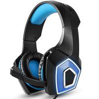 Komfortabelt spilhovedtelefon - sort / blå