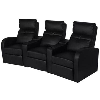 vidaXL LED lænestol i to dele, 2+3 sæder, kunstlæder, sort