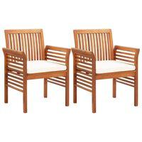 vidaXL spisebordsstole til haven 2 stk. med hynder massivt akacietræ