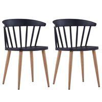 vidaXL spisebordsstole 2 stk. sort plastik