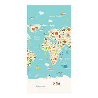 Good Morning badehåndklæde WORLDMAP 75x150 cm lyseblå