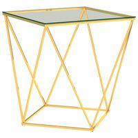 vidaXL sofabord 50x50x55 cm rustfrit stål guldfarvet og transparent