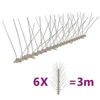 vidaXL fuglepigge 4 rækker sæt af 6 stk. 3 m plastik