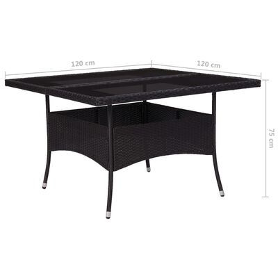 vidaXL udendørs spisebord polyrattan og glas sort