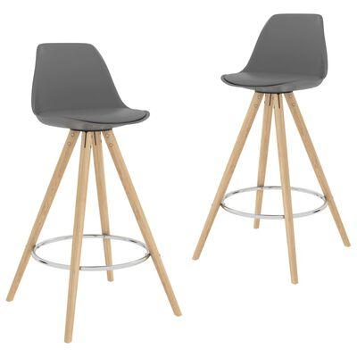 vidaXL barstole 2 stk. PP og massivt bøgetræ grå