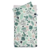 Jollein sengetøj med pudebetræk Leaves 100 x 140 cm grøn