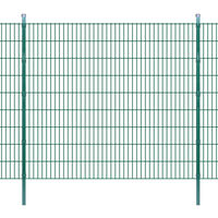 vidaXL 2D paneler og pæle til havehegn, 2.008x1.830 mm, 28 m, grønne