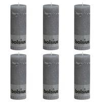 Bolsius rustikke bloklys 6 stk. 190 x 68 mm lysegrå