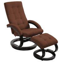 vidaXL lænestol med fodskammel ruskindsstof brun