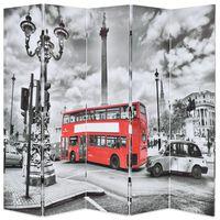 vidaXL foldbar rumdeler 200 x 170 cm London bus sort og hvid