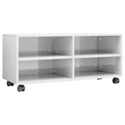 vidaXL tv-skab med hjul 90 x 35 x 35 cm spånplade hvid højglans