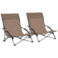 vidaXL foldbare strandstole 2 stk. stof gråbrun