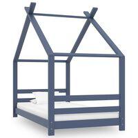vidaXL sengestel til børneseng 80x160 cm massivt fyrretræ grå