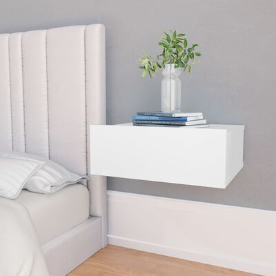 vidaXL svævende natbord 40 x 30 x 15 cm spånplade hvid