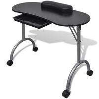 vidaXL manicurebord med hjul foldbart sort