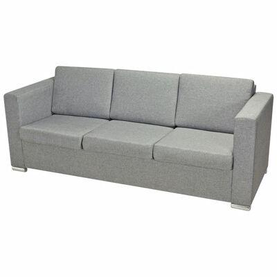 vidaXL sofasæt i tre dele stof lysegrå
