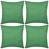 4 grønne pudebetræk i bomuld 40 x 40 cm