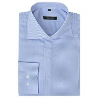 vidaXL businessherreskjorte stribet hvid og blå str. M