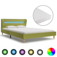 vidaXL seng med LED og madras 120 x 200 cm grøn stof