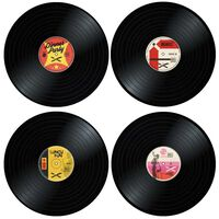 4x Dækkeservietter - Vinylplader