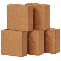 vidaXL coir-blokke 5 stk. 5 kg 30 x 30 x 10 cm