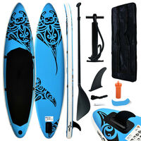 vidaXL oppusteligt paddleboardsæt 366x76x15 cm blå
