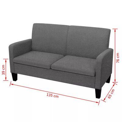 vidaXL 2-personers sofa 135 x 65 x 76 cm mørkegrå