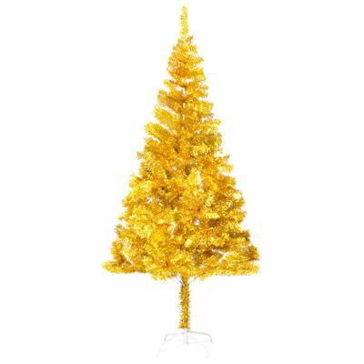 vidaXL kunstigt juletræ med fod 180 cm PET guldfarvet