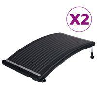 vidaXL soldrevne varmepaneler til pool 2 stk. 110x65 cm buet
