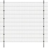 vidaXL 2D Havehegnspaneler & Pæle 2008x2030 mm 8 m Sølv