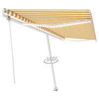 vidaXL markise m. LED + vindsensor 500x350 cm automatisk gul/hvid