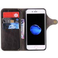 Wallet 3-kort ægte læder Apple iPhone 7/8-sort