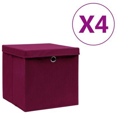 vidaXL opbevaringskasser med låg 4 stk. 28x28x28 cm mørkerød