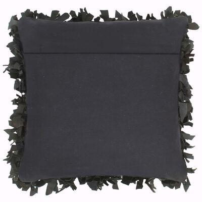 vidaXL pude pjusket sort 60 x 60 cm læder og bomuld