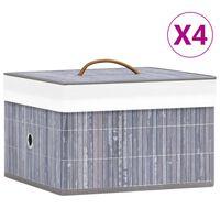 vidaXL opbevaringskasser 4 stk. bambus grå
