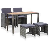 vidaXL udendørs spisebordssæt 5 dele polyrattan og akacietræ grå