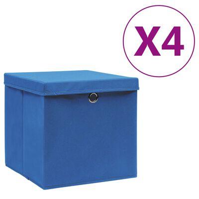 vidaXL opbevaringskasser med låg 4 stk. 28x28x28 cm blå