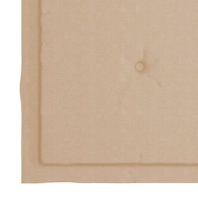 vidaXL havestole med beige hynder 6 stk. massivt teaktræ