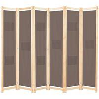 vidaXL 6-panels rumdeler 240 x 170 x 4 cm stof brun
