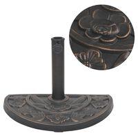 vidaXL parasolfod resin halv rund bronzefarvet 9 kg