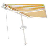 vidaXL markise m. LED + vindsensor 400x350 cm automatisk gul/hvid