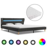 vidaXL seng med LED og madras 180 x 200 cm sækkelærred mørkegrå