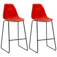 vidaXL barstole 2 stk. plastik rød