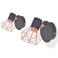 vidaXL væglampe 2 stk. E14 sort og kobberfarvet