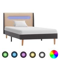 vidaXL sengestel med LED 90 x 200 cm stof cremefarvet