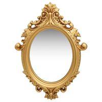vidaXL vægspejl slotstil 56x76 cm guldfarvet