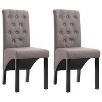 vidaXL spisebordsstole 2 stk. stof gråbrun