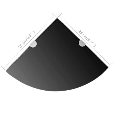 vidaXL hjørnehylde med krombeslag glas sort 25 x 25 cm