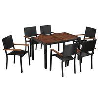 vidaXL udendørs spisebordssæt 7 dele polyrattan og akacietræ sort