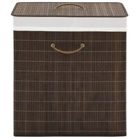 vidaXL vasketøjskurv bambus rektangulær mørkebrun